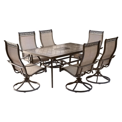 Monaco 7pc Rectangle Metal Patio Dining Set - Tan - Hanover - image 1 of 9