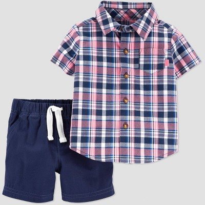 Baby Boys' 2pc Plaid Top & Bottom Set - Just One You® made by carter's Red/Blue Newborn