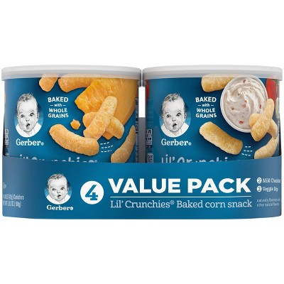 Gerber Lil' Crunchies 4pk Baked Corn Variety Pack Baby Snacks - 5.92oz