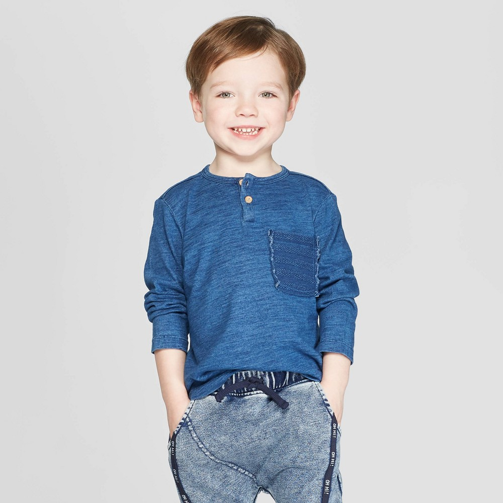 Toddler Boys' Henley Long Sleeve T-Shirt - art class Blue 2T