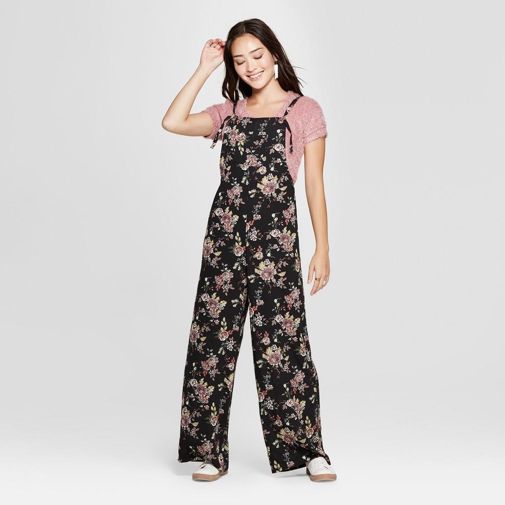 Women's Floral Print Strappy Jumpsuit - Xhilaration Black/Rust M