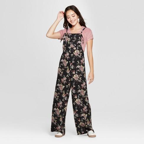 82d2728a9145e2 Women s Floral Print Strappy Jumpsuit - Xhilaration™ Black Rust XS ...