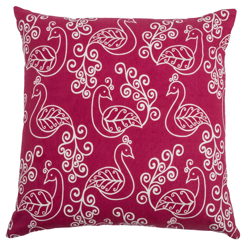 "Image of ""Raspberry Wine Preening Peacocks Throw Pillow (20""""x20"""") - Rizzy Home"""