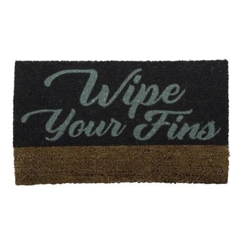 TAG Wipe Your Fins Boot Scrape Coir Doormat Indoor Outdoor Welcome Mat Coastal Nautical Beach - image 1 of 2