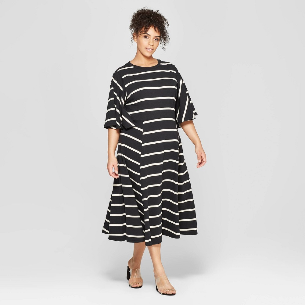 Women's Plus Size Striped Bell Sleeve Crewneck A-Line Dress - Who What Wear Black/White 4X