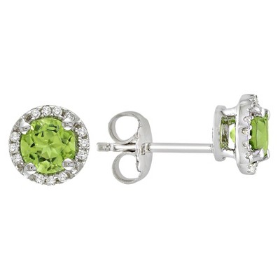 Peridot and Diamond Earrings in Sterling Silver - Green