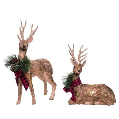 Transpac Foam 16 In Brown Christmas Deer Set Of 2 Target