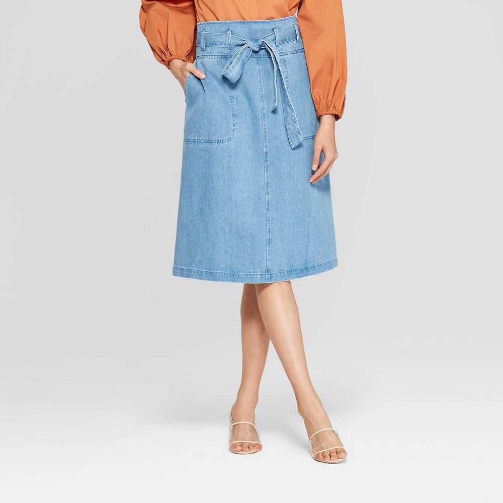 Women's Duo Front Pocket Belted Denim Midi Skirt - Who What Wear Blue 12