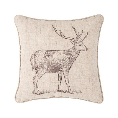 """C&F Home 18"""" x 18"""" Forest Deer Embroidered Brown Pillow"""
