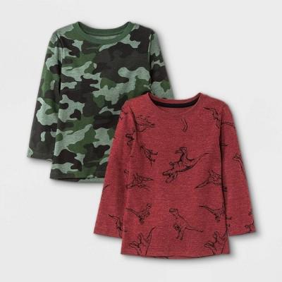 Toddler Boys' 2pk Printed Knit Long Sleeve T-Shirt - Cat & Jack™ Camo Green/Burgundy