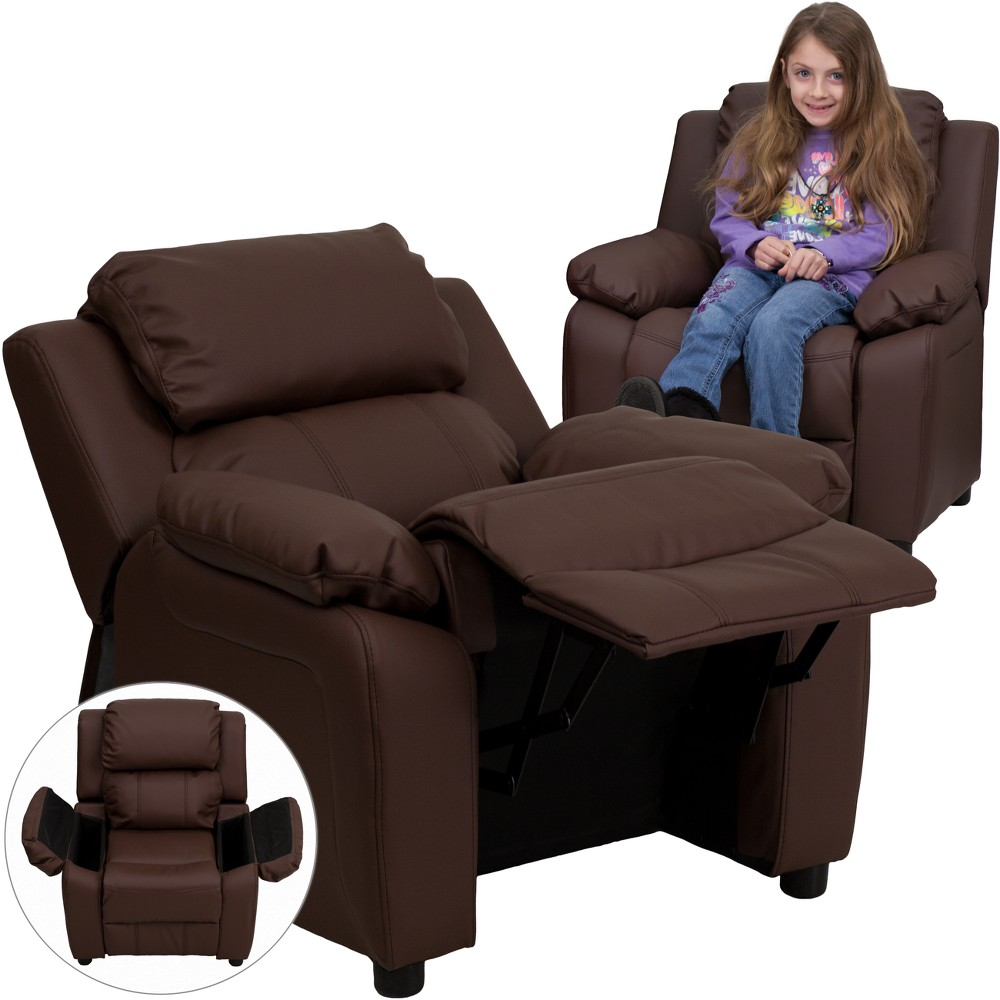 Riverstone Furniture Collection Leather Kid's Recliner Brown