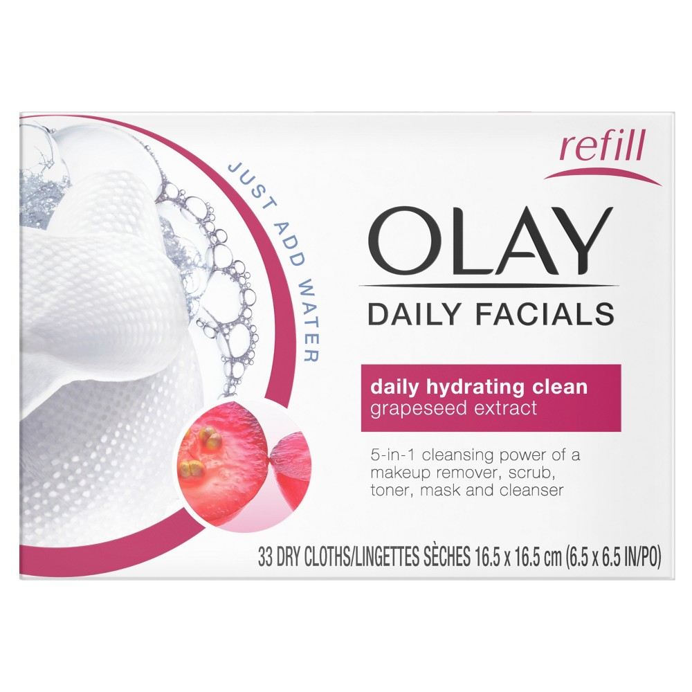 Olay Daily Hydrating Cleansing Cloth with Grapeseed Extract Makeup Remover Facial Cleanser - 33ct
