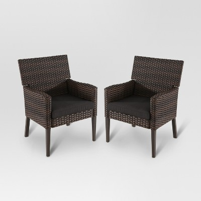 Halsted 2pk All-Weather Wicker Patio Dining Chair - Charcoal - Threshold™