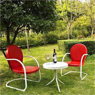 Steel 3 Metal Outdoor Seating Set in Red-Pemberly Row
