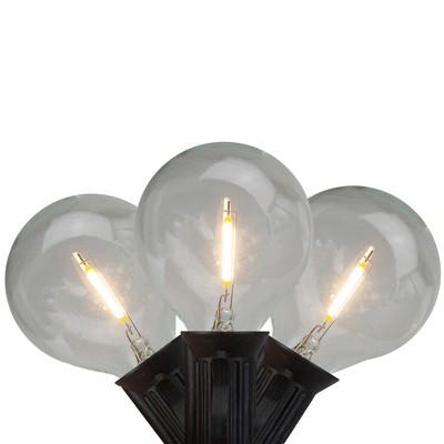 Northlight 10ct Warm White LED G50 Globe Christmas Light Set, 10ft Black Wire