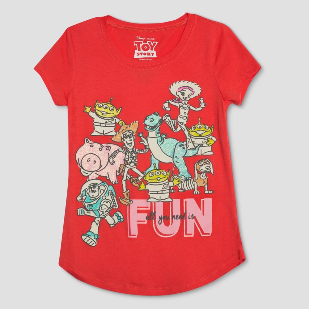 Girls' Toy Story Short Sleeve T- Shirt - Red Xxl
