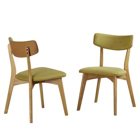 Set Of 2 Abrielle Mid Century Dining Chairs Green Christopher