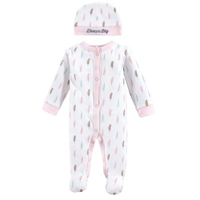 Luvable Friends Baby Girl Cotton Preemie Snap Sleep and Play and Cap 2pc Set, Feathers, Preemie