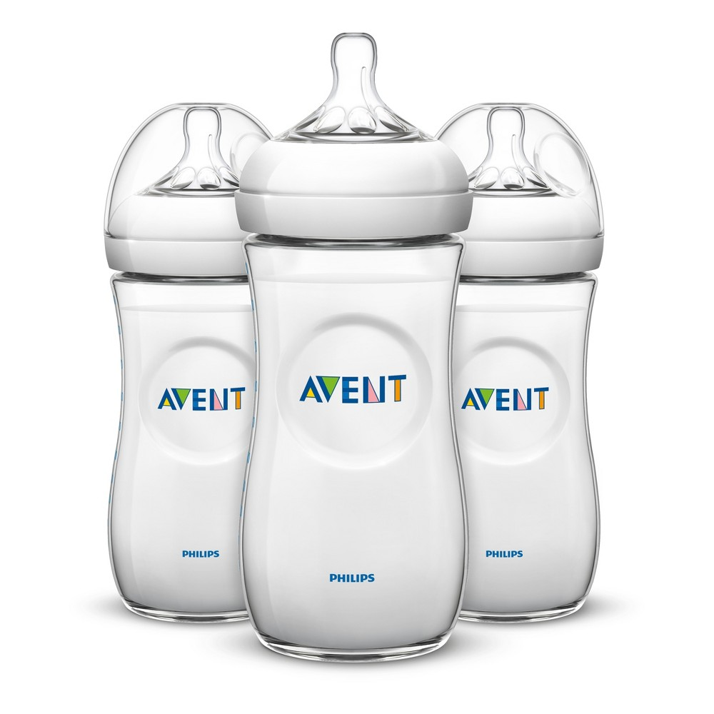 Image of Philips Avent 3pk Natural Baby Bottle 11oz - Clear