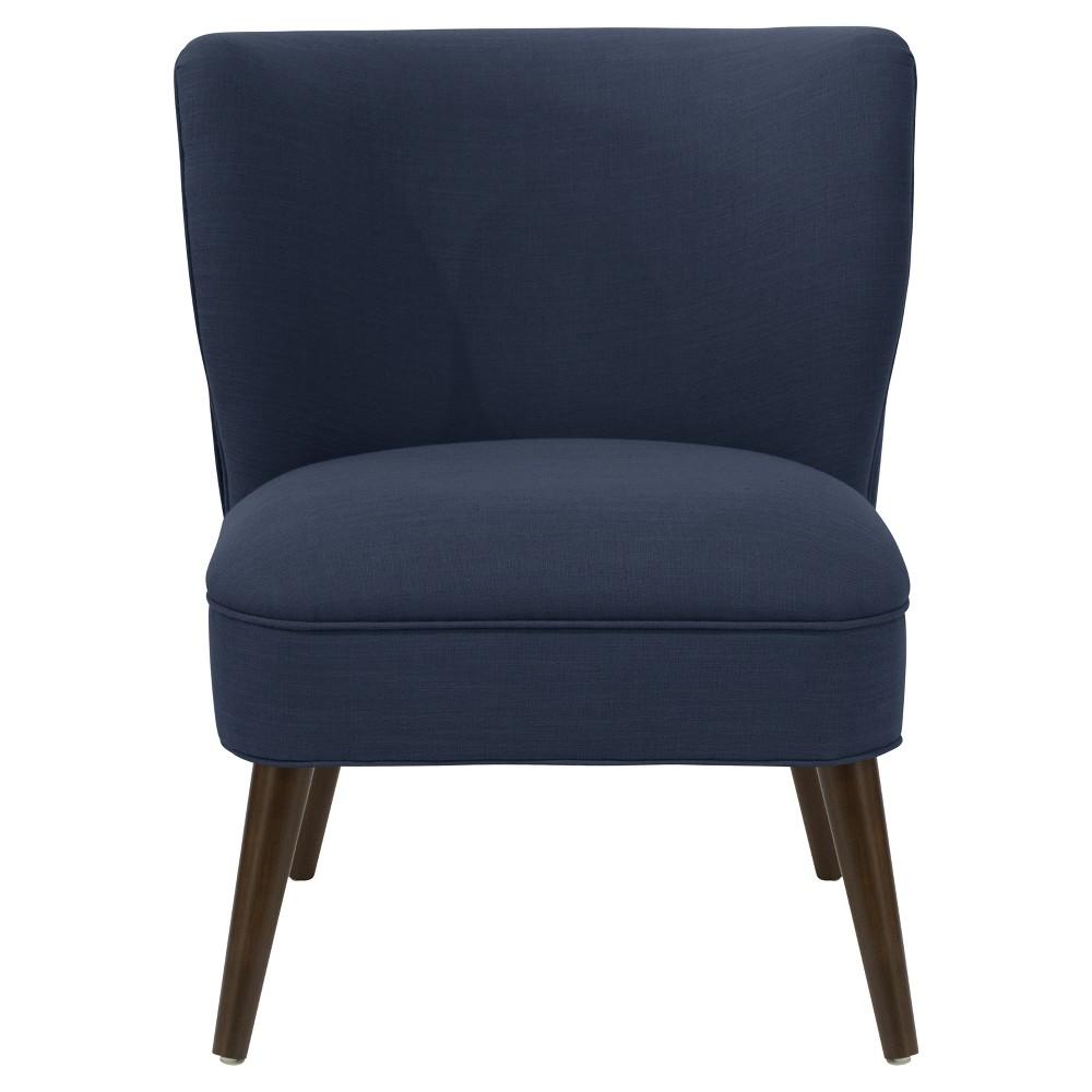Lena Armless Pleated Chair Navy Linen - Cloth & Co.