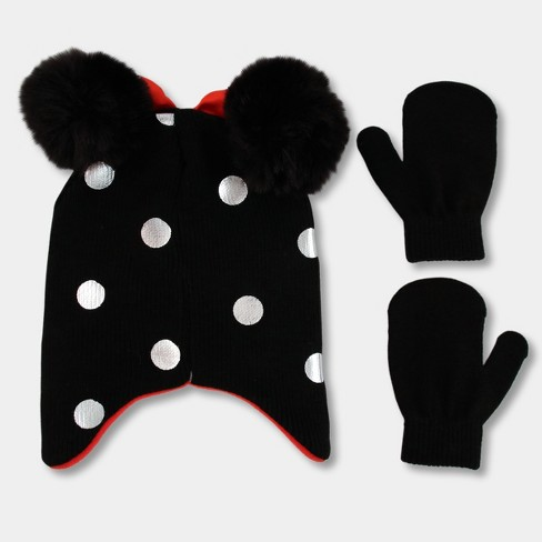 7cfc80757ca Toddler Girls  Disney Minnie Mouse Hat And Mitten Set - Black One Size    Target