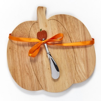 Lakeside Pumpkin Shaped Cheese Board with Spreader - Autumn Kitchen Accent