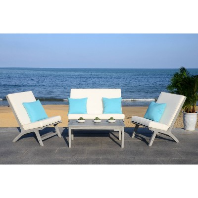 Chaston 4pc Outdoor Living Set With Accent Pillows - Gray Wash/White/Light Blue - Safavieh
