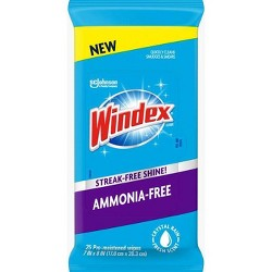 Windex Ammonia Free Fresh Scent Pre-Moistened Wipes - 25ct
