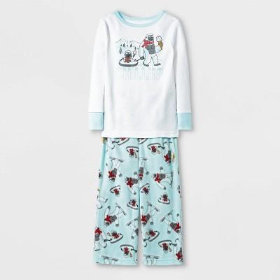 Toddler Boys' Yeti Pajama Set - Cat & Jack™ White/Blue 2T