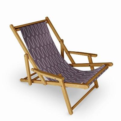 June Journal Curved Line Art in Dark Plum Sling Chair - Deny Designs