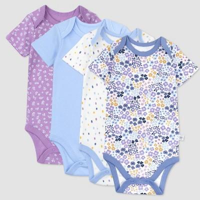 Honest Baby Girls' 4pk Organic Cotton Prairie Pretty Short Sleeve Bodysuit - Purple/Blue/White 0-3M