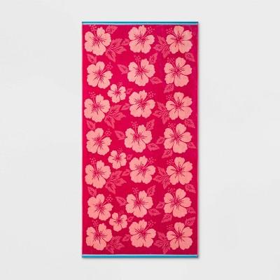 Hibiscus Beach Towel XL Pink - Sun Squad™