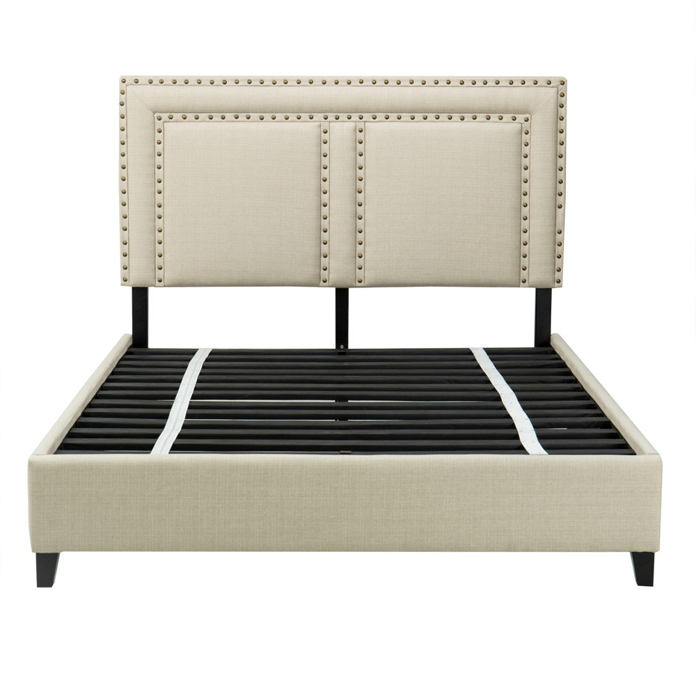 Full Harris Upholstered Platform Bed with Nailheads Tan - John Boyd Designs