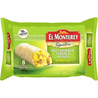 El Monterey Egg, Sausage, Cheese & Potato Frozen Burritos - 36oz/8ct