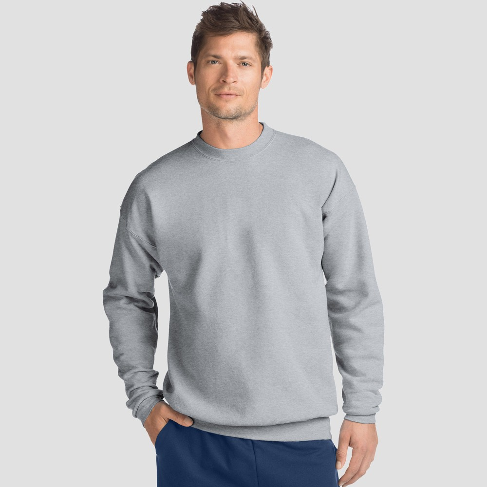 Hanes Men 39 S Ecosmart Fleece Crew Neck Sweatshirt Silver 2xl