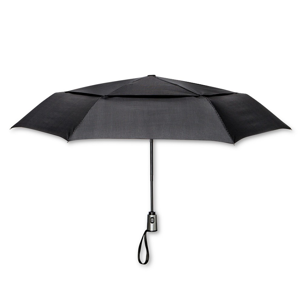 Image of ShedRain Auto Open/Close Air Vent Compact Umbrella - Black Houndstooth, Gray