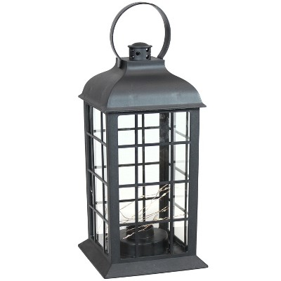 """13"""" Oyster Bay Plastic and Glass Battery Operated Indoor LED Candle Lantern - Black - Sunnydaze Decor"""