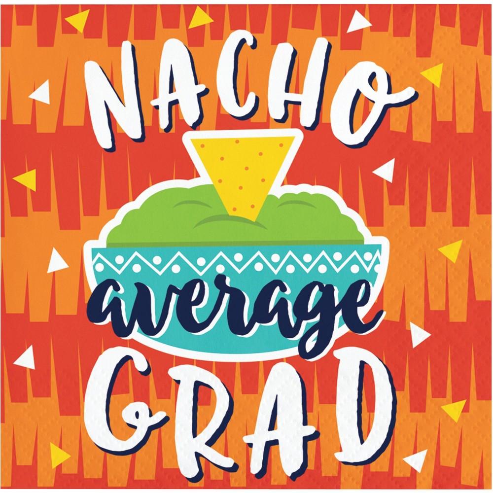 """Image of """"48ct Fiesta Fun """"""""Nacho Average Grad"""""""" Grad Beverage Napkins"""""""