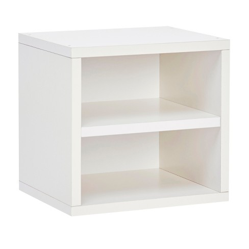 Way Basics Eco Stackable Connect Cube with Shelf Modular Cubby Organizer Storage System - White - Lifetime Guarantee - image 1 of 4