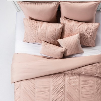 Blush Brielle Rouche Blush Comforter Set (Queen)8pc