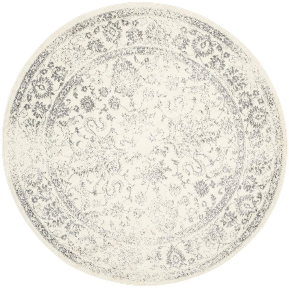 5 Spacedye Design Round Area Rug Ivory Silver Safavieh