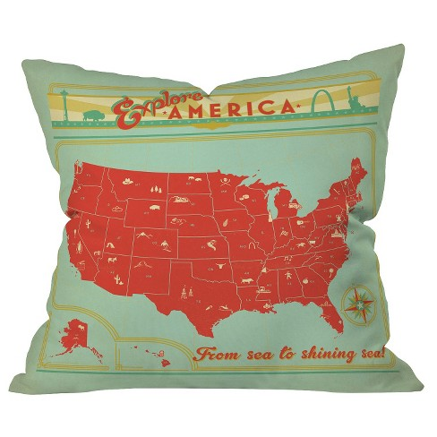 Red Explore America Throw Pillow - Deny Designs® - image 1 of 1