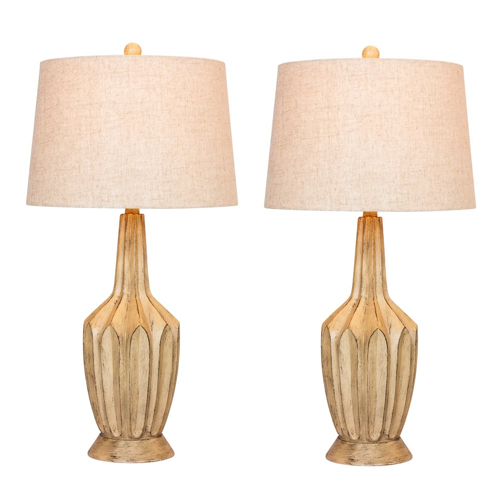 Image of 2pk Fluted Genie Bottle Resin Table Lamps Buff Beige - Fangio Lighting