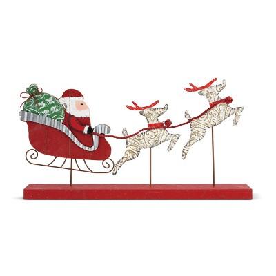 DEMDACO Ceiling Tin and Wood Santa in Sleigh Figure Red