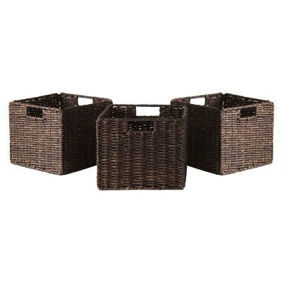 Granville Foldable 3pc Small Corn Husk Baskets - Chocolate - Winsome