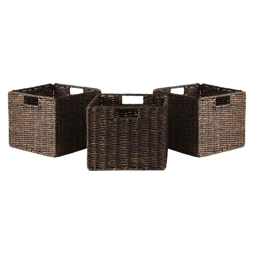 Granville Foldable 3pc Small Corn Husk Baskets - Chocolate (Brown) - Winsome