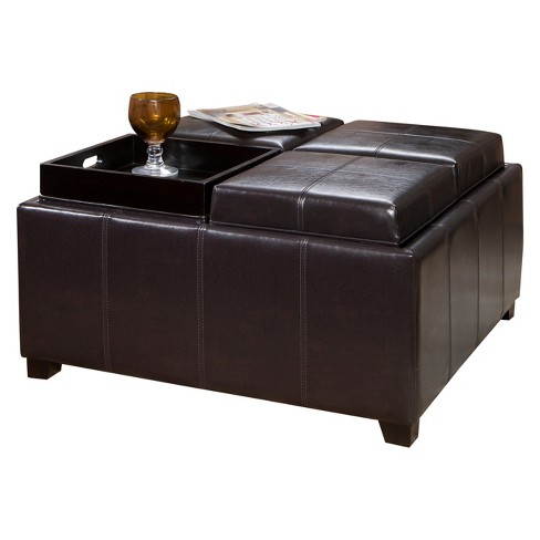 Dayton 4 Tray Top Bonded Leather Storage Ottoman Espresso Brown Christopher Knight Home