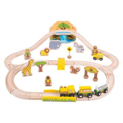 Bigjigs Rail Safari Wooden Railway Train Set
