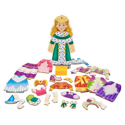 Melissa & Doug Deluxe Princess Elise Magnetic Wooden Dress-Up Doll Play Set (24pc) - image 1 of 4
