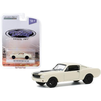 """1966 Ford Mustang Fastback Test Car Cream with Black Stripe """"Detroit Speed, Inc."""" Series 1 1/64 Diecast Model Car by Greenlight"""